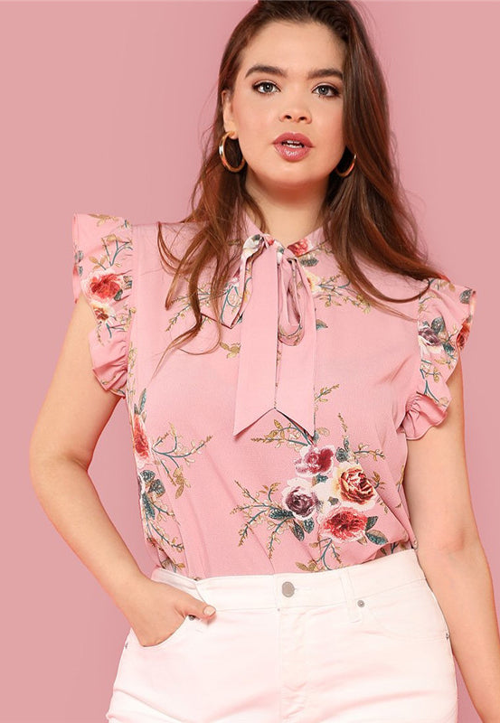 Plus Size Pretty Floral Bow Tie Ruffle Sleeve Blouse Top
