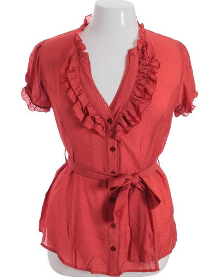 Plus Size Cotton Ruffle Red Blouse