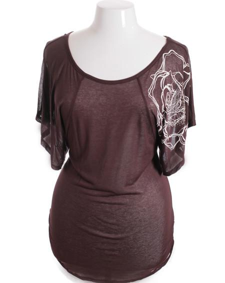 Plus Size Flutter Sleeve Beaded Brown Top