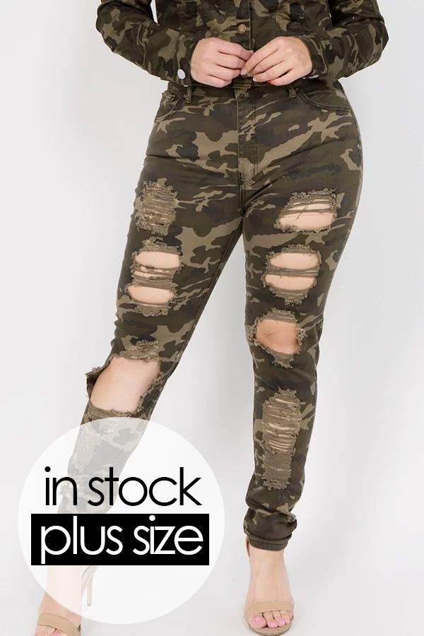 Plus Size High Rise Destroyed Skinny Jeans STOCKED