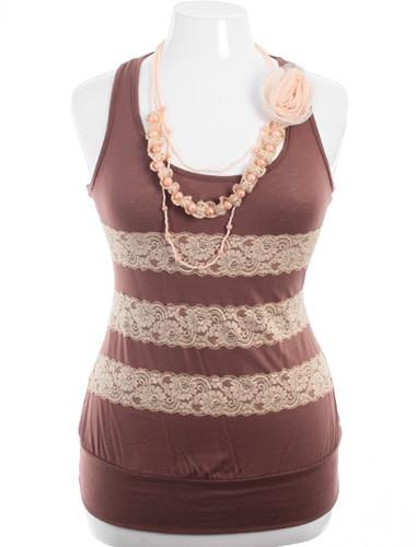 Plus Size Lace Necklace Tan Tank
