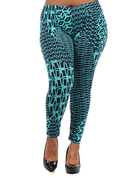 Plus Size Geo Future Teal Leggings