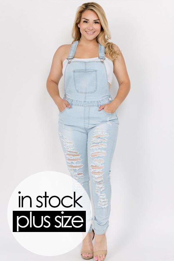 d8f87e35359 Plus Size Destroyed Jeans Demim Trendy Overalls – slayboo