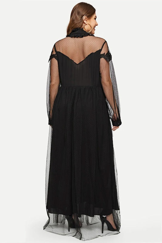 Plus Size Dashing Bow Neckline Embroidered Mesh Overlay Dress