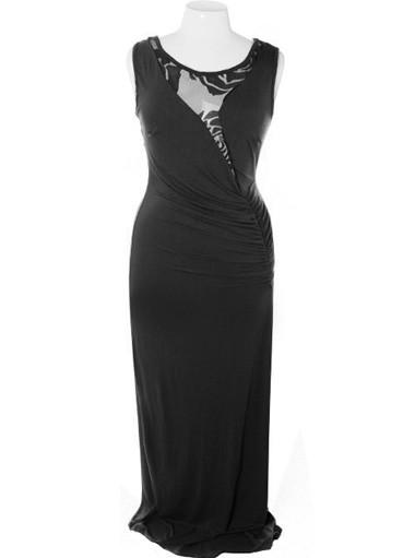 Plus Size Elegant Floor Length Rose Black Dress