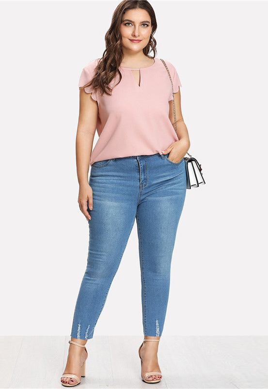 Plus Size Adorable Casual O Neck Curved Hem Blouse Top
