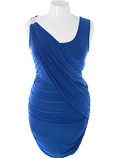 Plus Size Elegant Runway Diamond Shoulder Blue Dress