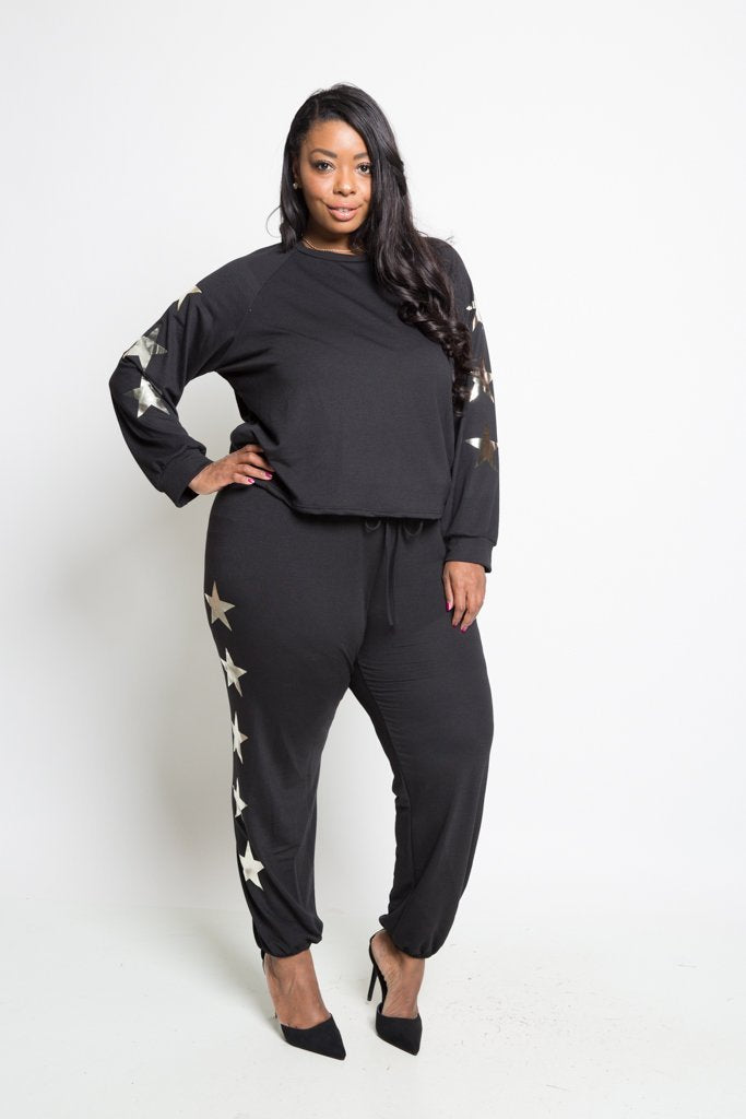 79be05bc14e Plus Size Cozy Star Printed Sweater Top Bottom Set – slayboo