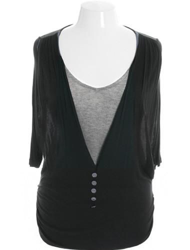 Plus Size Get It Girl Layered Vest Grey Top