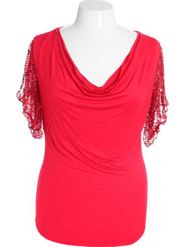 Plus Size Glamorous Drape Neck Red Blouse