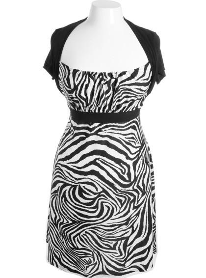 Plus Size Sexy Zebra Layered Shrug Top Dress