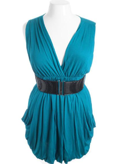 Plus Size Sleeveless Bubble Pleat Skirt Teal Mini Dress