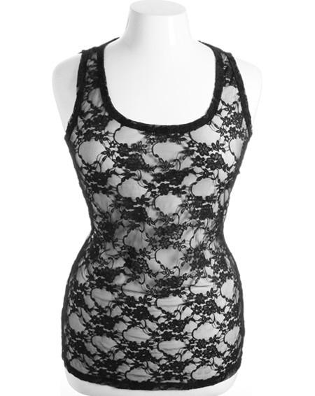 Plus Size Stretchy See Through  lace Sexy Black Tank