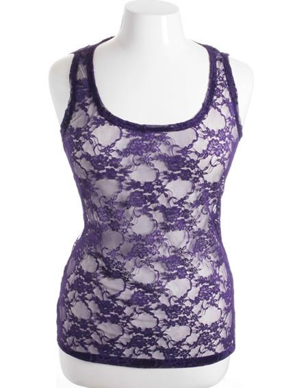 Plus Size Stretchy See Through  lace Sexy Purple Tank