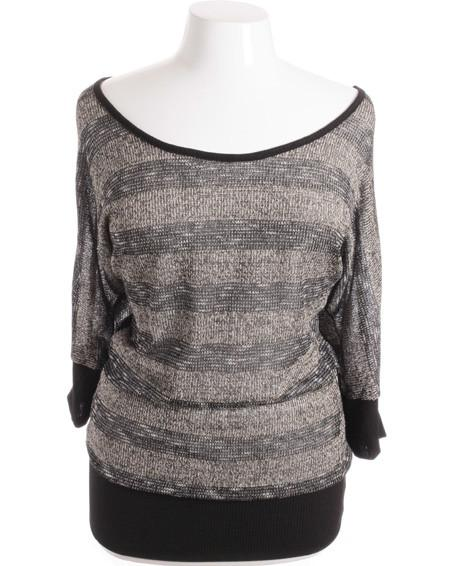 Plus Size Stretchy Sparkling Loose Bubble Stripe Knit Top