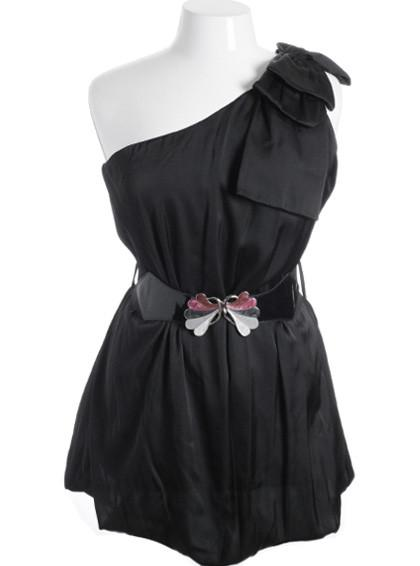 Plus Size Silky Satin Bubble One Shoulder Bow Black Dress