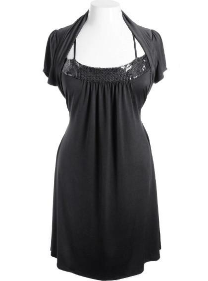 Plus Size Sparkling Perfectly Pleated Black Shrug Dress
