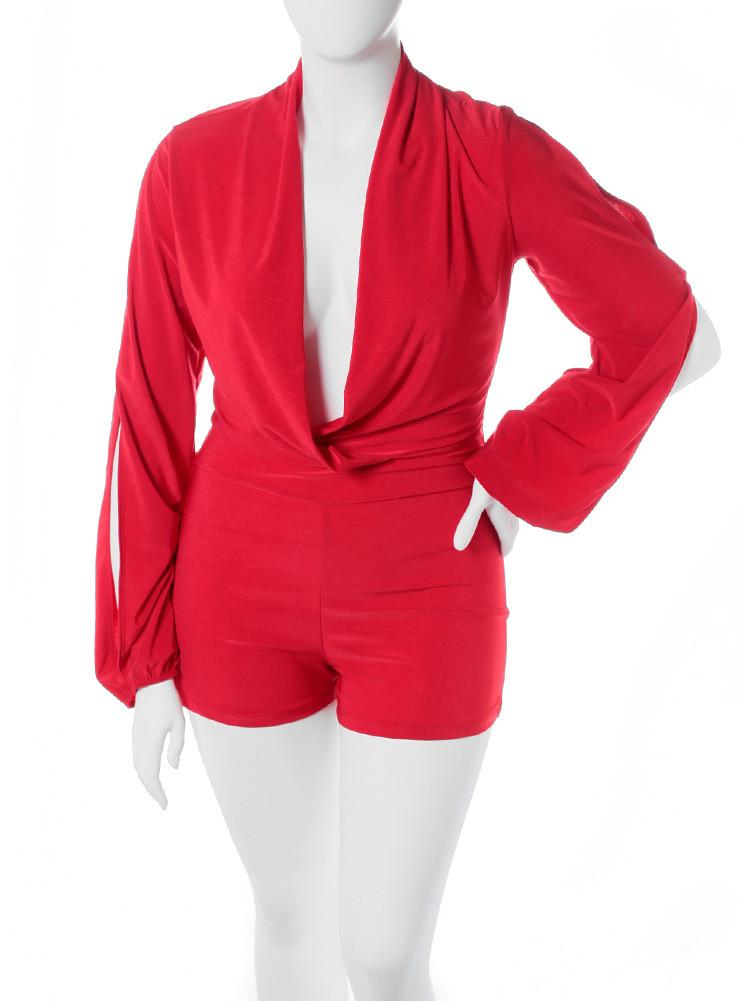 Plus Size Long Sleeve Silky Red Romper