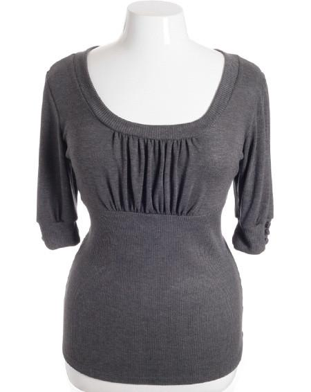 Plus Size Half Sleeve Pleat Chest Grey Top