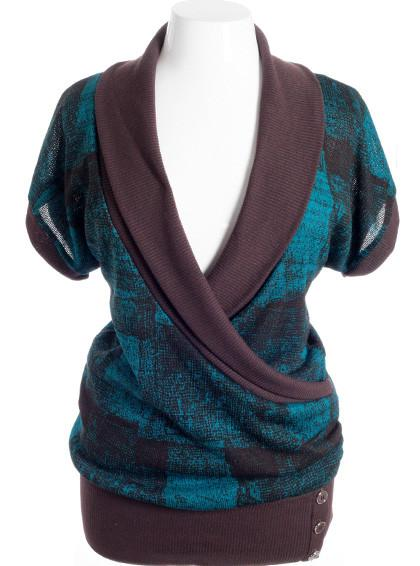 Plus Size Designer Knit Wrap Teal Top