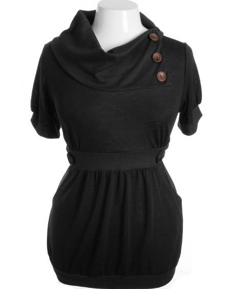 Plus Size Designer Layered Collar Button Black Top