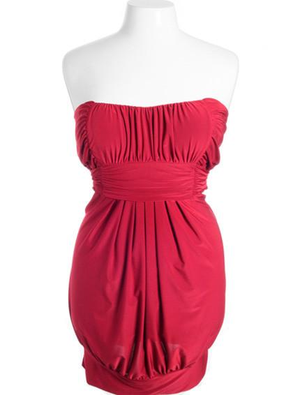 Plus Size Sexy Pleated Bubble Red Tube Dress