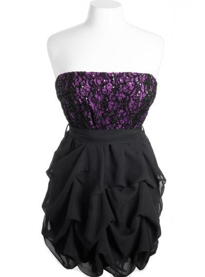 Plus Size Sparkling Lace Ruffle Bubble Purple Tube Dress