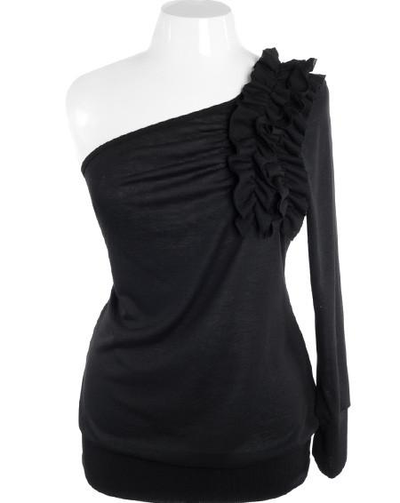 Plus Size One Shoulder Ruffle Black Long Sleeve