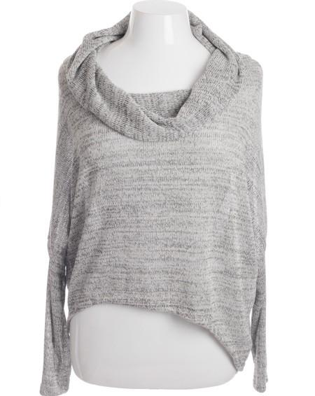 Plus Size Sparkling Loose Knit Cowl Neck Top