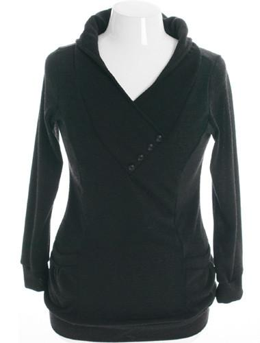 Plus Size Cozy Knit V Neck Black Hoodie