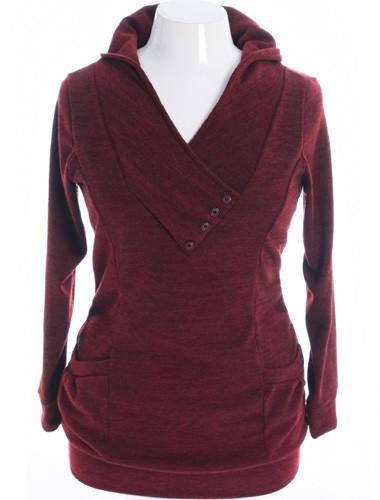 Plus Size Cozy Knit V Neck Burgundy Hoodie