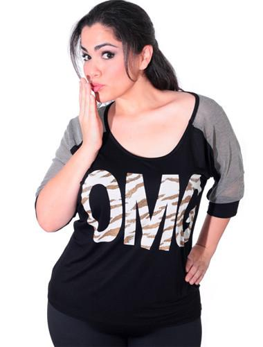 Plus Size OMG Trendy Black Shirt