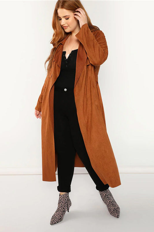 Plus Size Belted Wide-waisted Long Suede Trench Coats