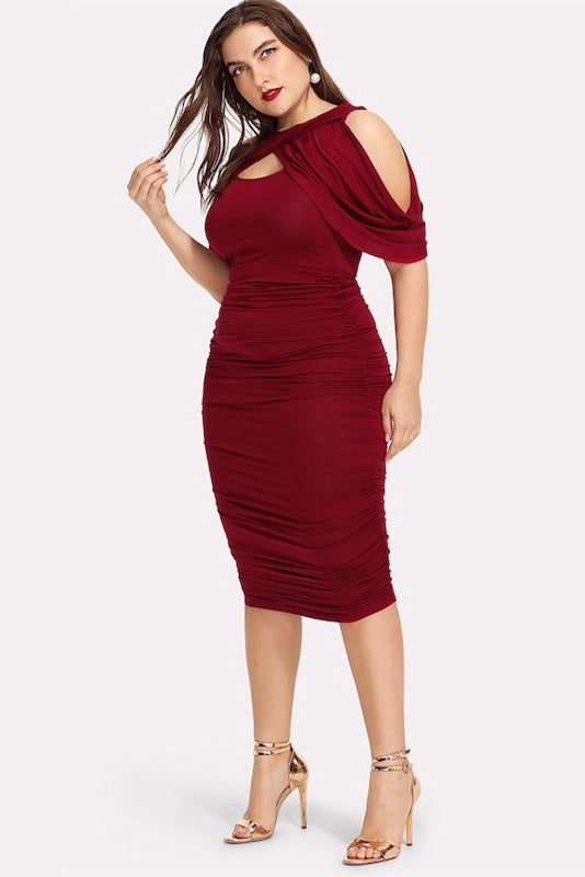 Plus Size Lazer Cut Long Sleeve Bodycon Club Dress