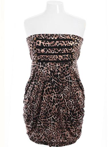 Plus Size Leopard Military Tube Dress