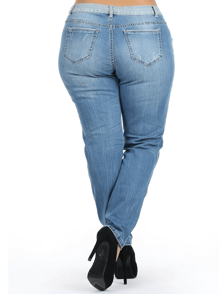 Plus Size Distressed Faded Skinny Denim Jeans