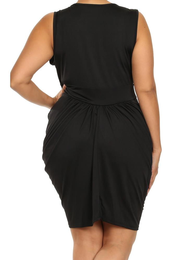 Plus Size V Neck Black Bubble Dress