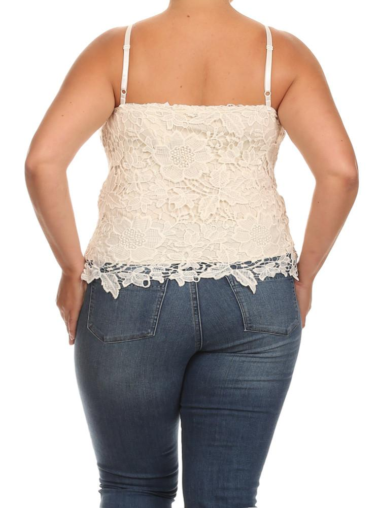 Plus Size Sun Kissed Floral Crochet Cream Top