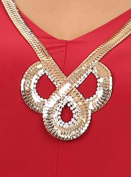 bf23f19d24c Plus Size Goddess Gold Necklace Red Top  SALE