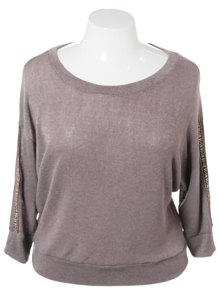 Plus Size Tribal Sleeve Patch Knit Taupe Top