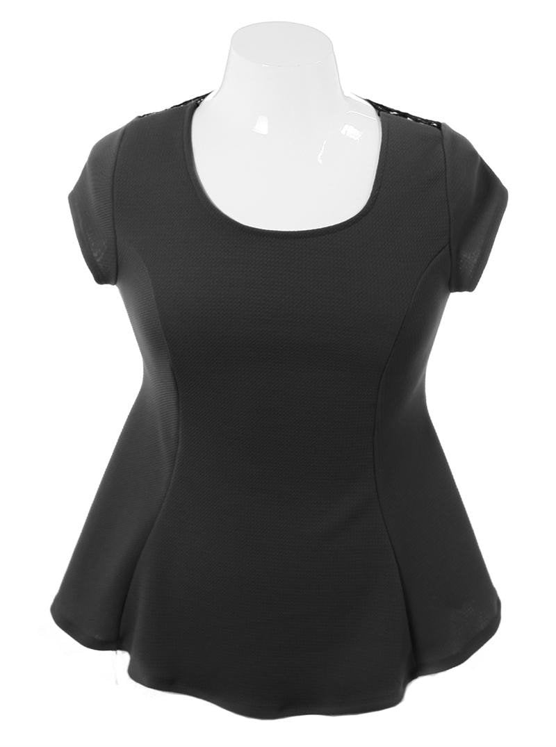 Plus Size See Through Back Flare Black Top