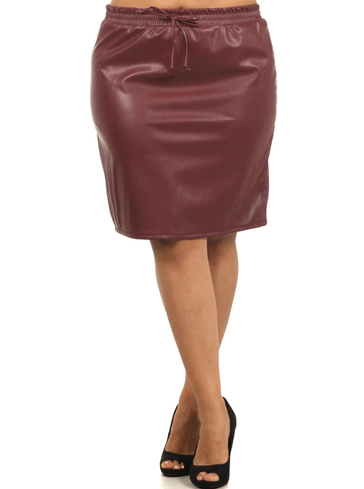 Plus Size Smooth Operator Burgundy Leather Skirt