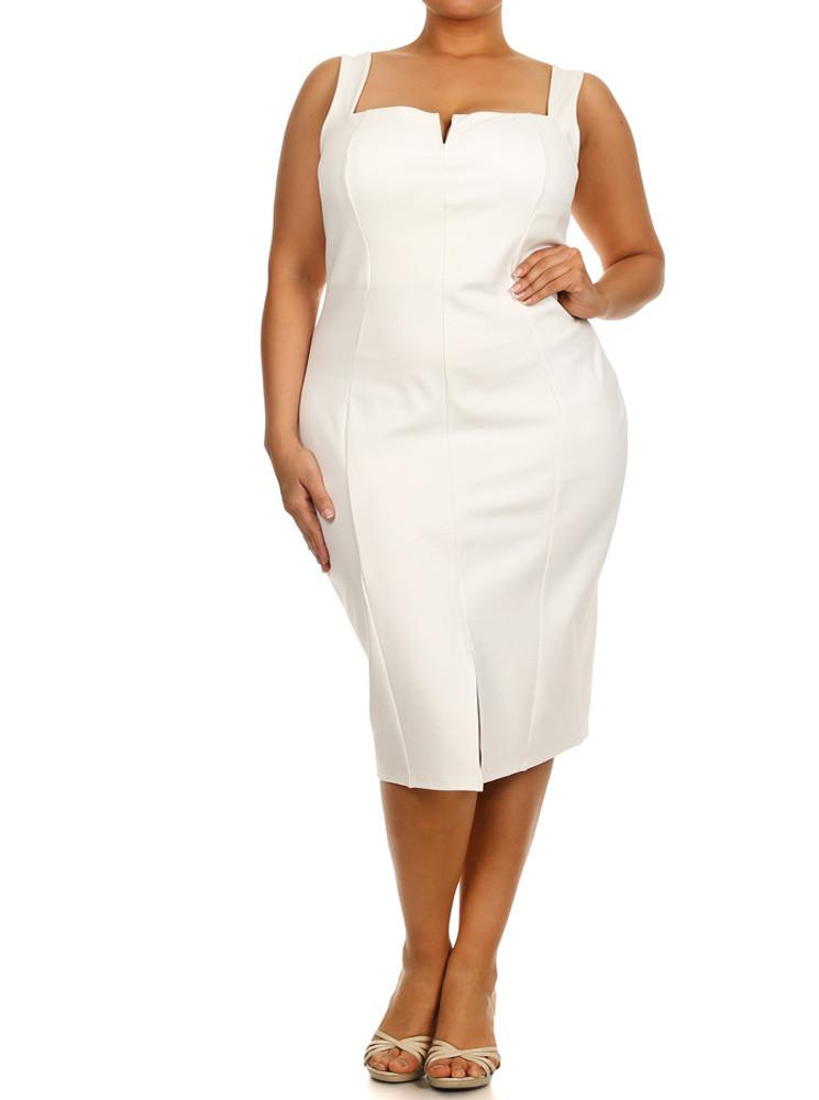 Plus Size Plunging Neckline White Midi Dress