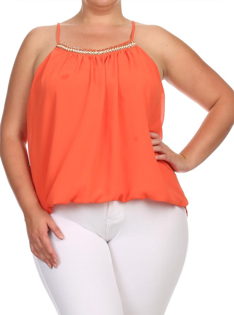 d5ba596e10b Plus Size Gold Chain Neckline Sheer Orange Top