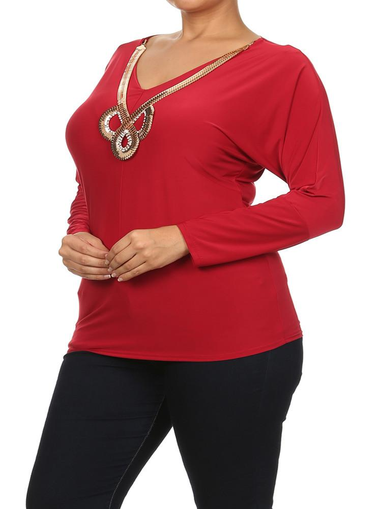 Plus Size Goddess Gold Necklace Red Top [SALE]
