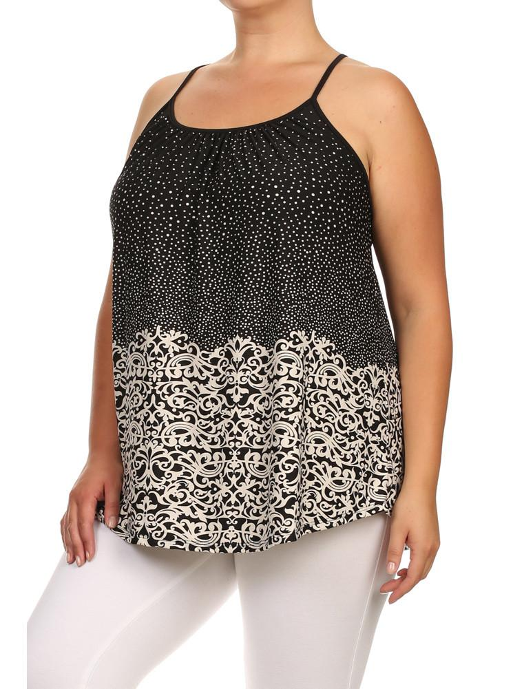 Plus Size Lovely Polka Dot Paisley Print Top