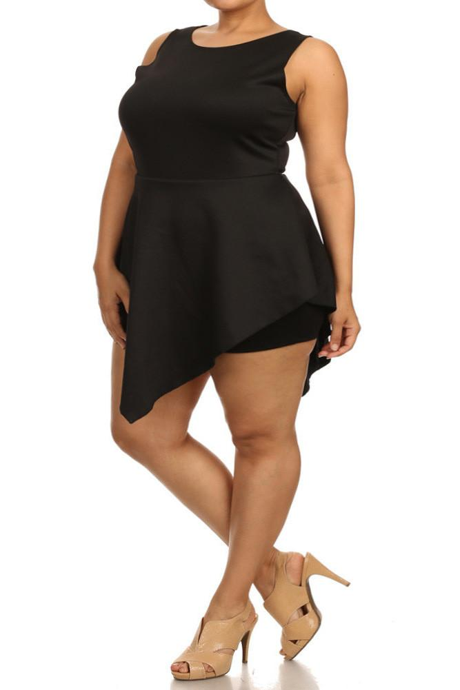 Plus Size Glamorous V Hem Open Back Skater Dress
