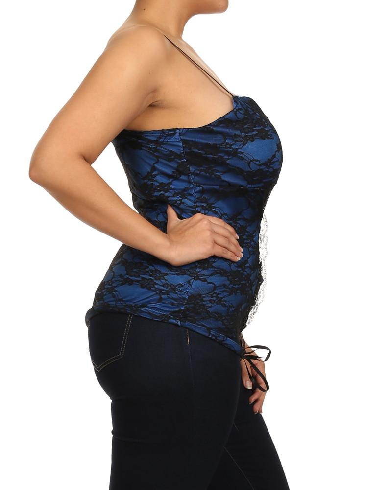 Plus Size Enticing Floral Lace Blue Corset