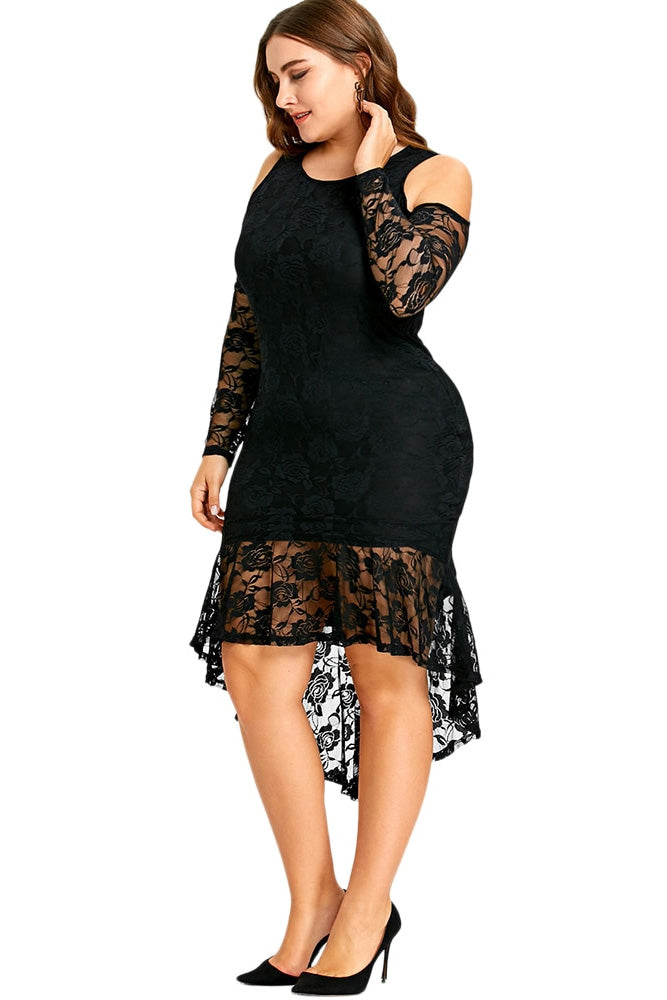 635a1a4c685 Plus Size Glam Cold Shoulder See Through Lace Trim Dress – slayboo