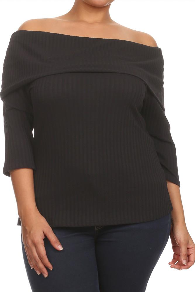Plus Size Chic Ribbed Off The Shoulder Top